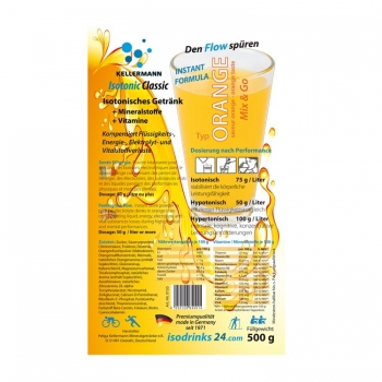 Isotonic sports drink for outdoor sports. Orange taste. Stimulates fluid intake.