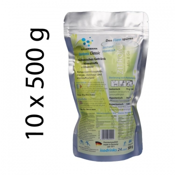 Isotonic sports drink for outdoor sports. Lemon taste. Set with 10 packs of 500 g powdered drink.