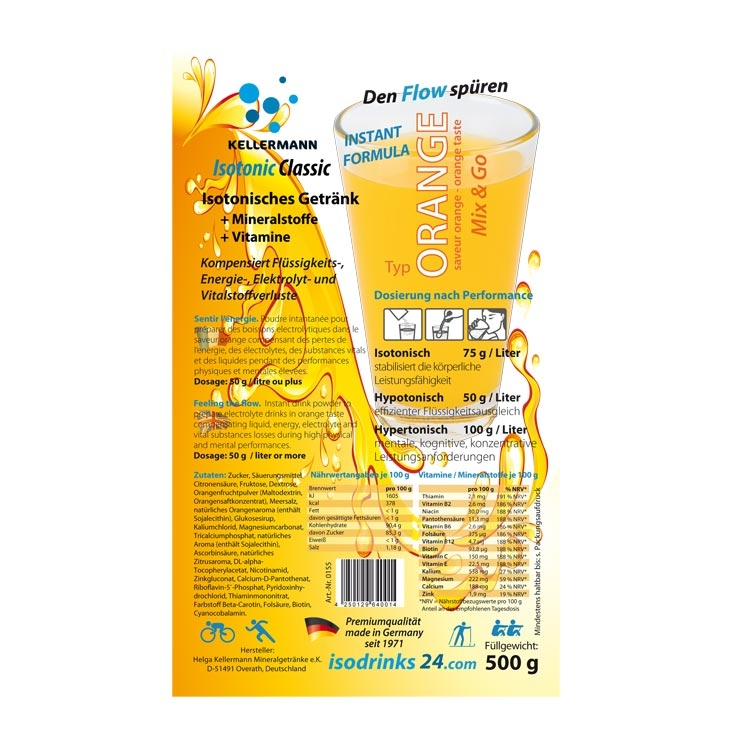 Isotonic sports drink for outdoor sports. Offer for sport clubs or pharmacies. 30 packets powdered drink in orange taste.