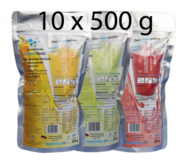 Isotonic sports drink for outdoor sports. Set 10 pieces. 4 tasty flavours.