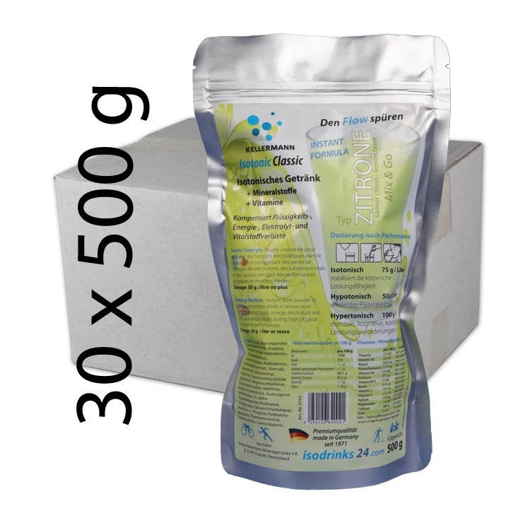 Isotonic sports drink for outdoor sports. Offer for sport clubs or pharmacies. 30 packets powdered drink in lemon taste.